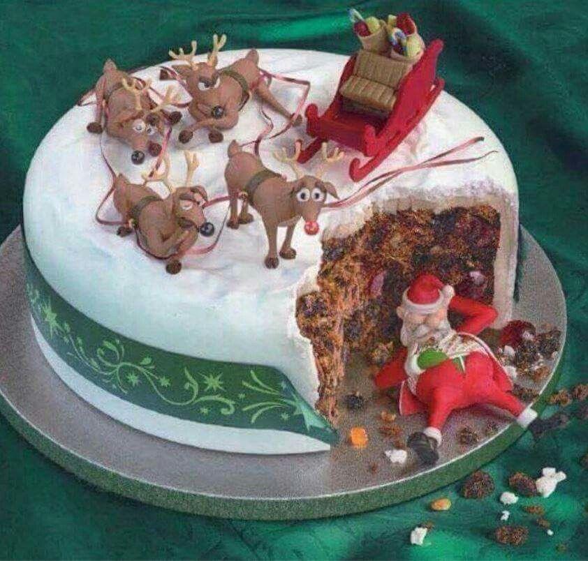 Funny Santa cake for Christmas. … Christmas cake decorations