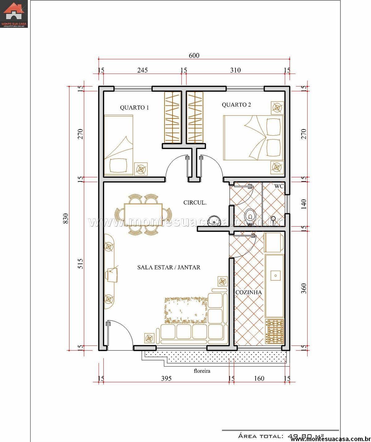 Projeto planta casa t rrea 05 ev plani pinterest for Muebles para planos de casas