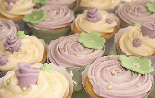 Lavender And Green Baby Shower Cupcakes