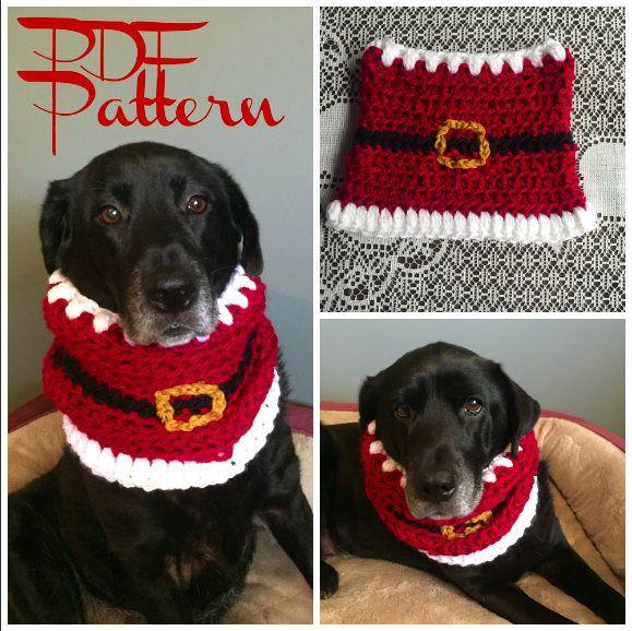 Santa Dog Snood Pattern / Christmas Dog Scarf Pattern / Dog Snood ...