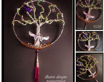 couple wire tree sculpture / suncatcher / wire by illustrisdesigns