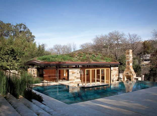 The Sloping Rooftop Garden Mimics The Hill Country