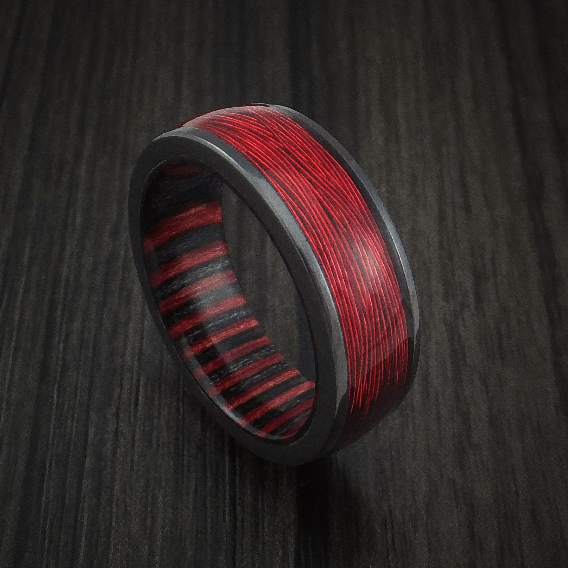 Black Zirconium and Wire Ring with Applejack Wood Sleeve