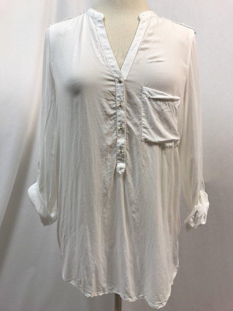 ef5614a1bbc Tunic Tops · $ 9.99   Zara Basic White V Neck 3/4 Sleeve Top, Womens Size