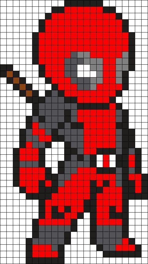 Deadpool Perler Bead Pattern Bead Sprite Pixel Art à