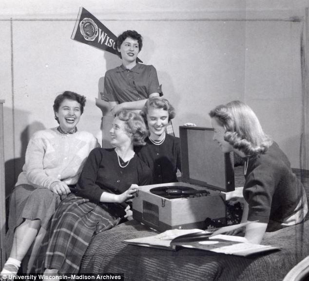 University of Wisconsin. Girls dorm. 1950s Record party.
