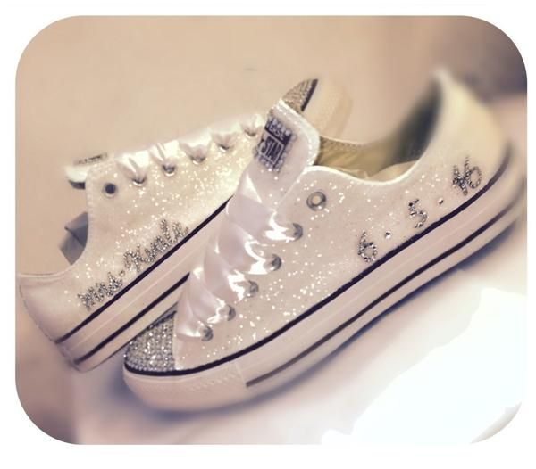 15 OFF With Code PINNED15 Sparkly White Glitter Crystals Converse All Stars Wedding BRIDE SHOES