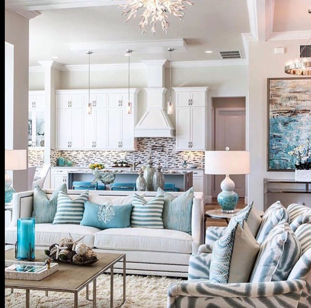 Beachy Living Room In 2019 Turquoise Room Coastal