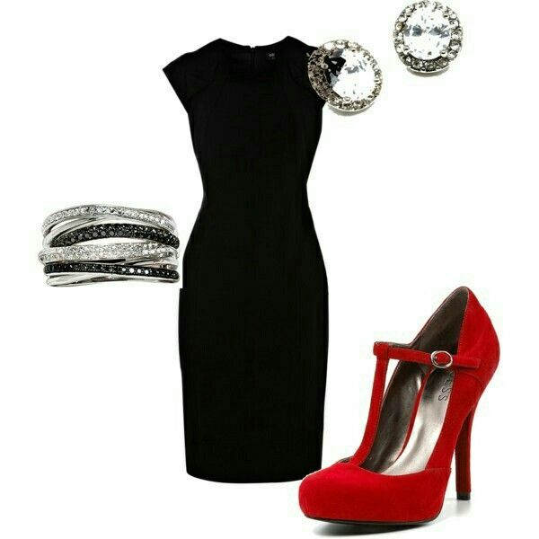 Black Dress And Red Shoes Holiday Outfits Fashion Style