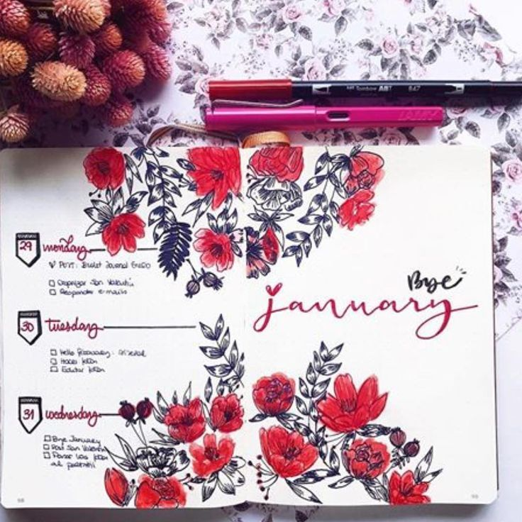 Top 10 Red Bullet Journal Spreads from this week!   My Inner Creative
