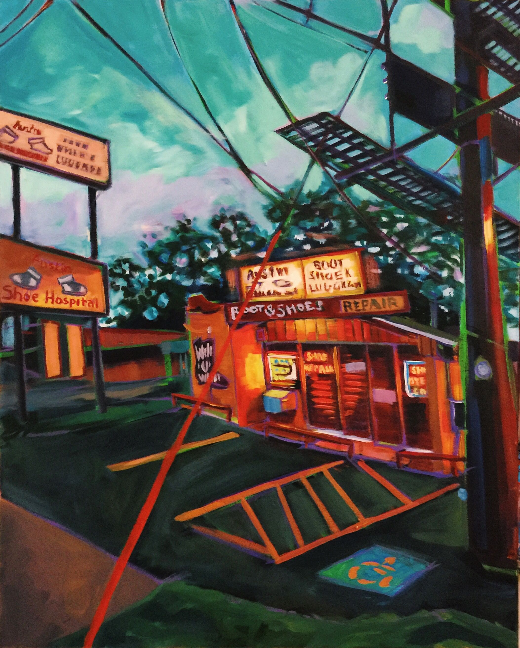 Austin night scene landscape painting contemporary art