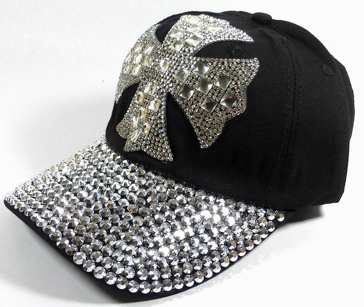 b9aec68795 Rhinestone Distressed Bling Baseball Caps Wholesale - Shiny Brim - Iron  Cross - Black Western Cowboy
