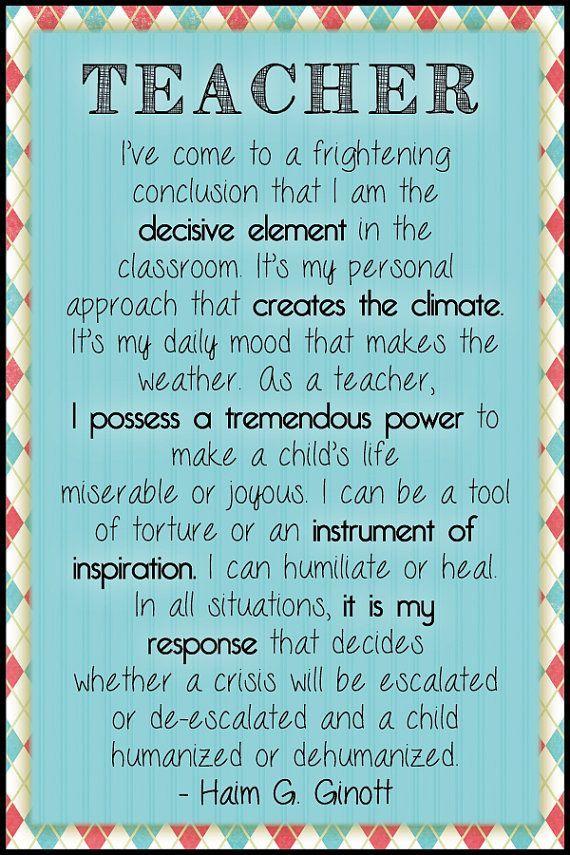 Teacher Quote Poster Etsy Teacher Gift Teacher
