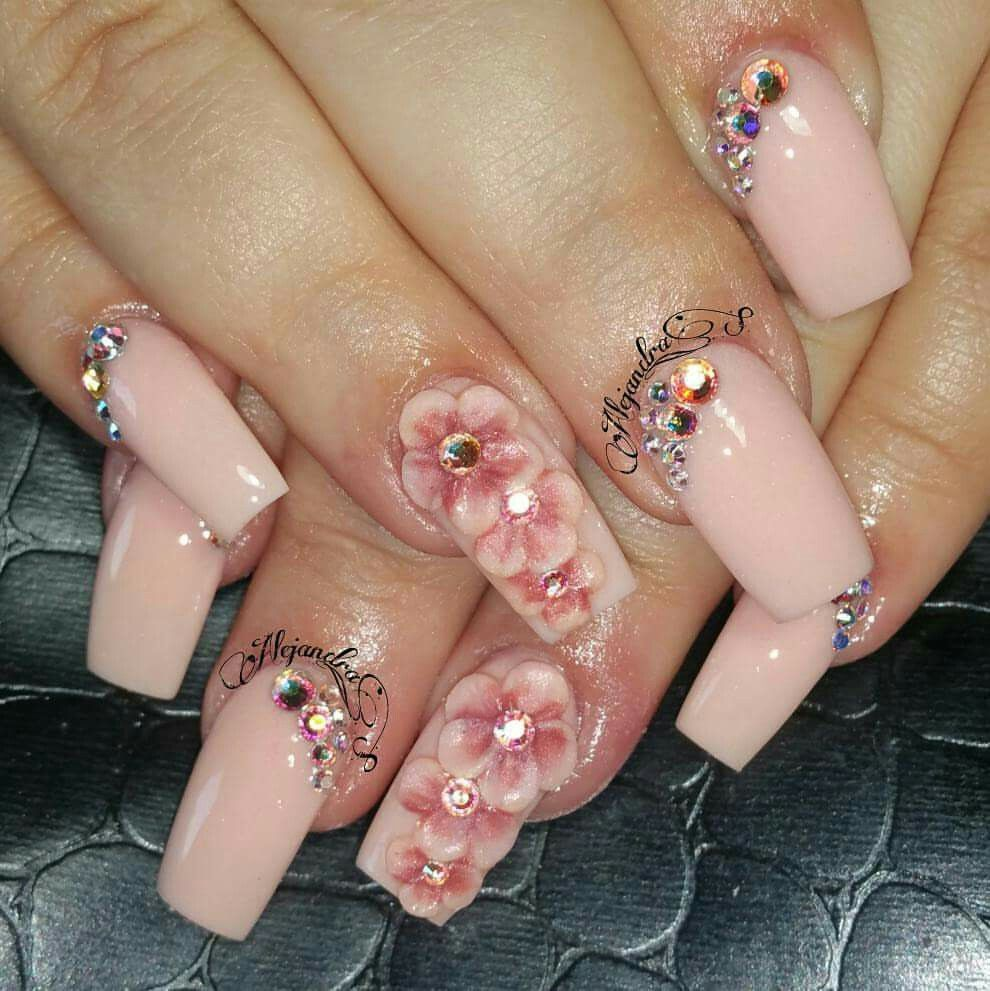 3d Nageldesign 3d Flowers Nude Nails Nail Art Nude Nails 3d Nails Och Nail Art