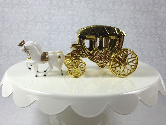 1 Gold Horse Drawn Cinderella Coach Carriage For Wedding Quinceanera Princess Party Cake Topper