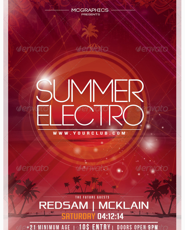 Summer Electro Flyer Template  Party Flyer Templates For Clubs