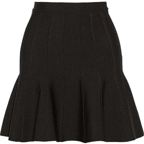 Hervé Léger Bandage mini skirt (3.370 BRL) ❤ liked on Polyvore featuring skirts, mini skirts, saias, bottoms, black bandage skirt, pull on skirt, rayon skirt, mini skirt and black miniskirt