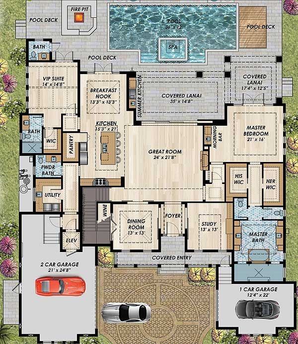 Plan 31838dn high end florida house plan florida house for Luxury garage plans