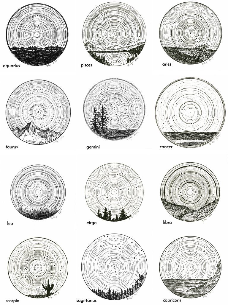 Photo of Gemini – Star Trails – Zodiac Constellations – Pen and Ink Drawing Print