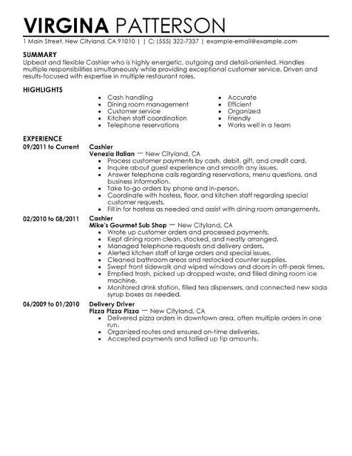 Cashier Resume Sample Sample Resumes Sample Resumes Pinterest - cashier manager sample resume