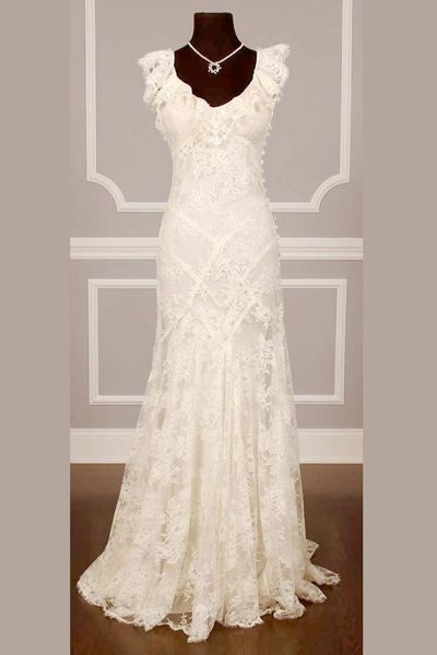 Illusion Floral Lace Up Wedding Gowns,Sleeveless Floor Length ...