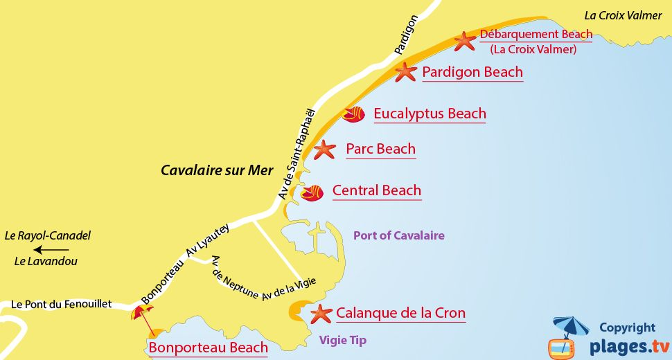 Map Of Cavalaire Sur Mer Beaches In France Cavalaire Cavalaire