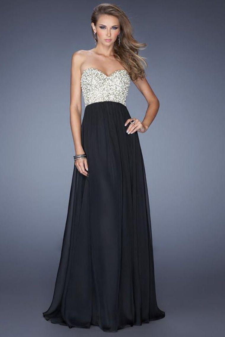 long maxi strapless black white prom dress  Prom Dresses Finder  Abschlussball kleider schwarz