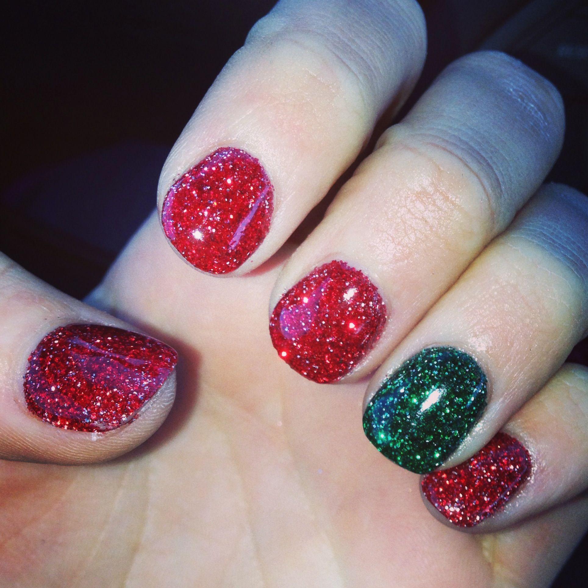 My Christmas nails. SNS powder gel. No UV light