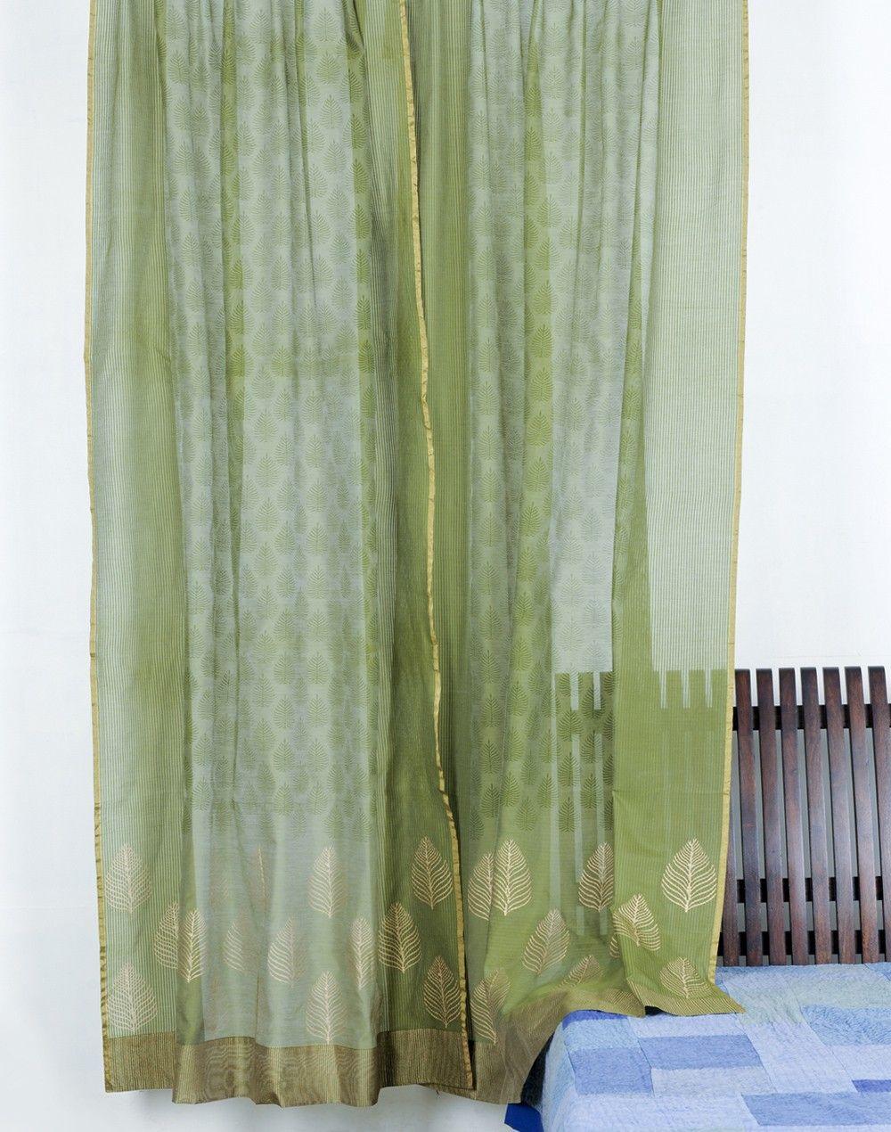 Fabindia Com Silk Cotton Kaisha Printed Curtain Printed