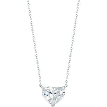 Heart Shaped 4.01 ct VS2 Clarity I Color Diamond 18kt White Gold Necklace