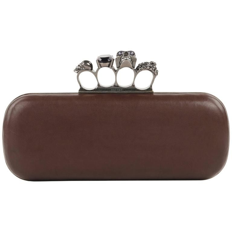 Knuckle Duster clutch - Brown Alexander McQueen Cheap Sale Best Place Outlet Authentic Free Shipping Many Kinds Of s9Kj2pDo