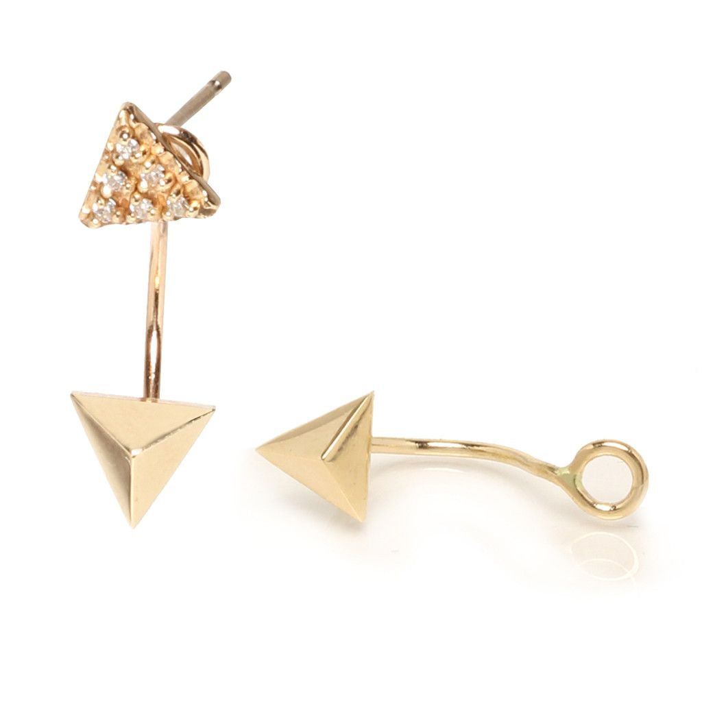 5a7711e58 14k triangle pyramid earring stud charm | Triangles and Gold