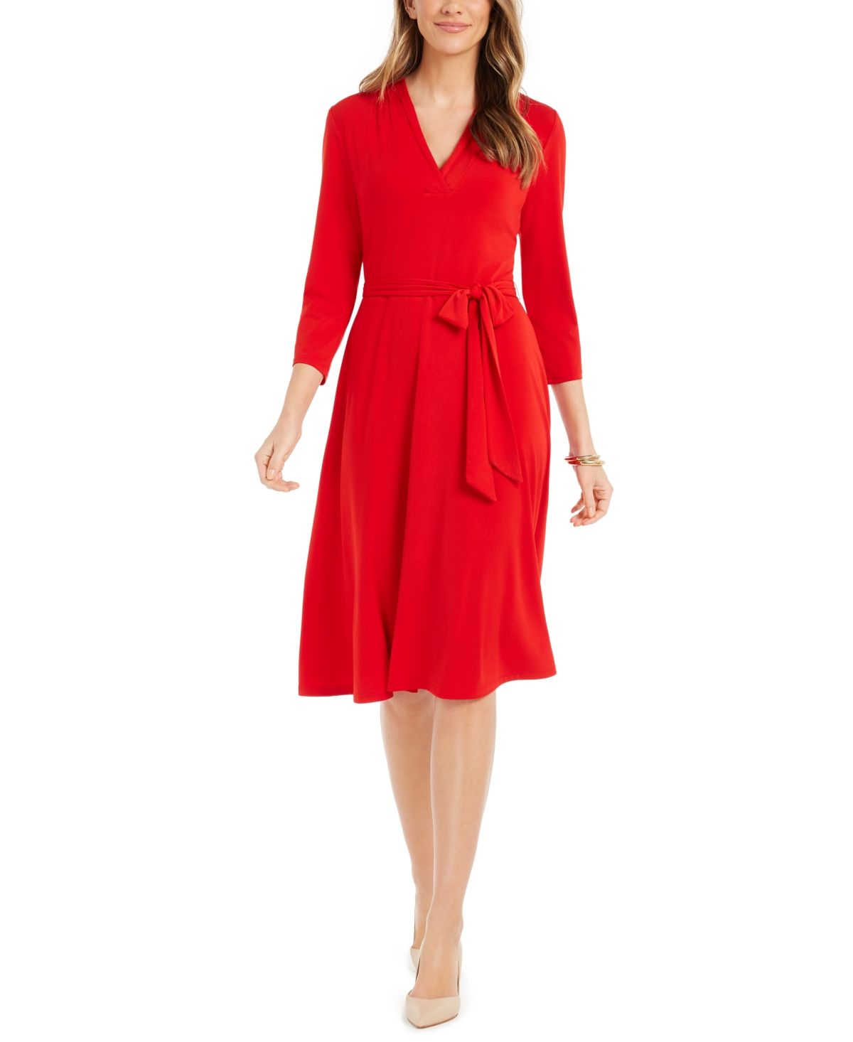 Charter Club 3 4 Sleeve Midi Dress Created For Macy S Ravishing Red In 2021 Midi Dress With Sleeves Red Dress Casual Red Dresses Classy [ 1466 x 1200 Pixel ]
