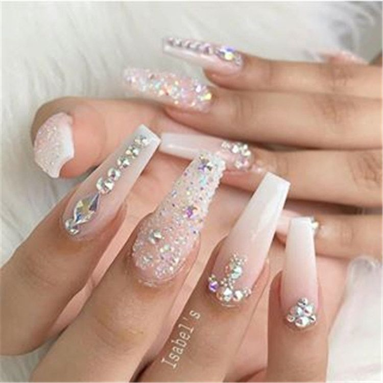 150 Simple And Cute Natural Acrylic Coffin Nails Design Page 30 Of 150 Inspiration Diary White Nail Designs Coffin Nails Designs Best Acrylic Nails