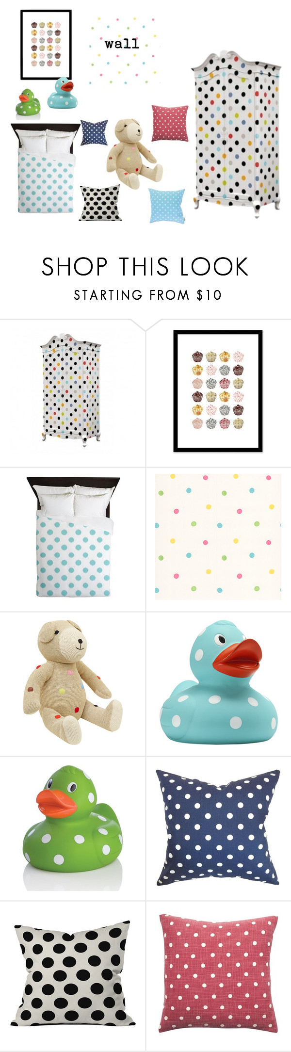 """""""Polka Dots Room"""" by megmarg on Polyvore featuring interior, interiors, interior design, home, home decor, interior decorating, Seletti, Curioos, Brewster Home Fashions and Anne-Claire Petit"""