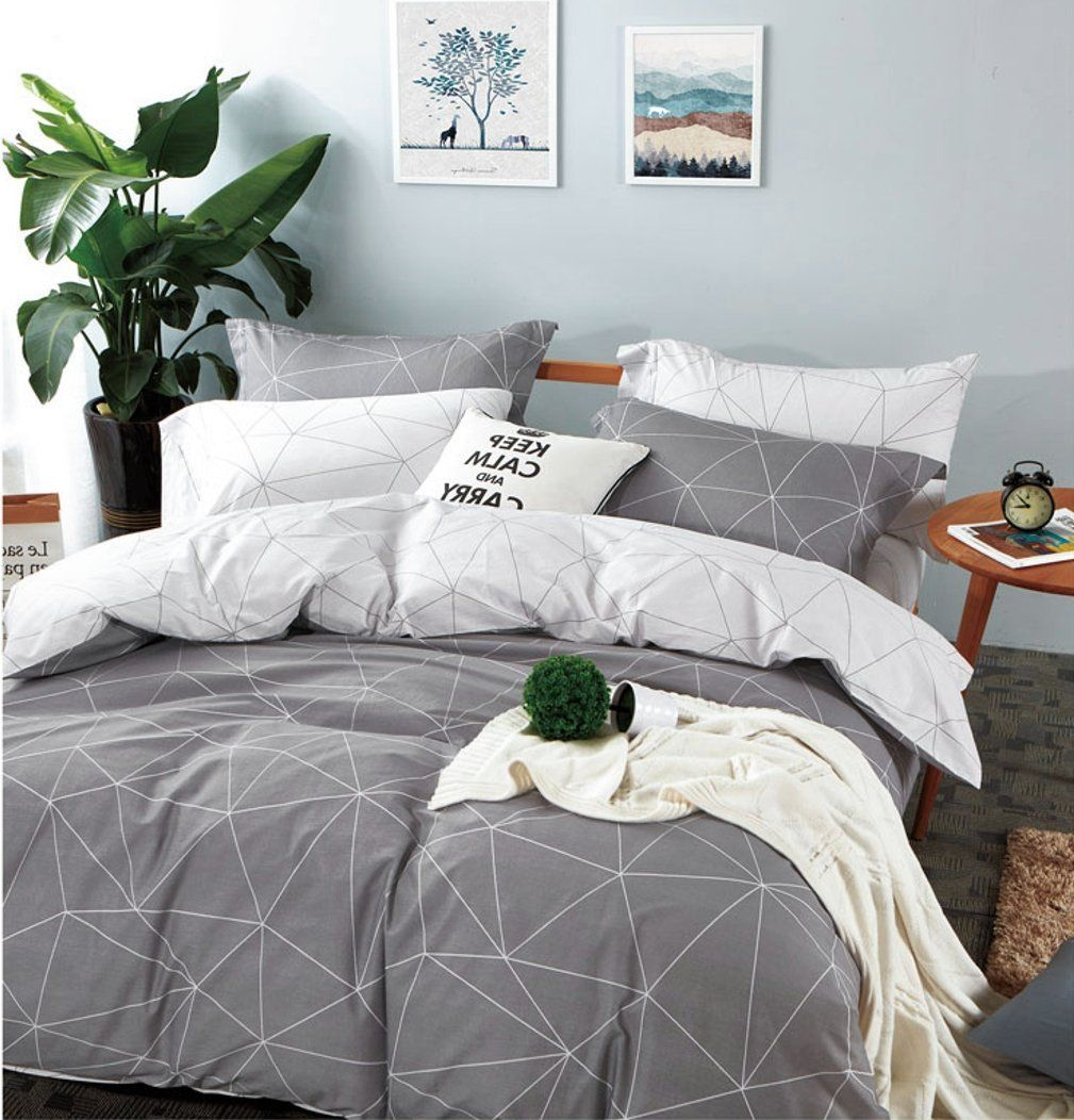 Amazon Com Eikei Home Minimal Style Geometric Shapes Duvet Quilt Cover Modern Scandinavian Design Bedding Set 10 Minimalist Bed Geometric Bedding Gray Bed Set