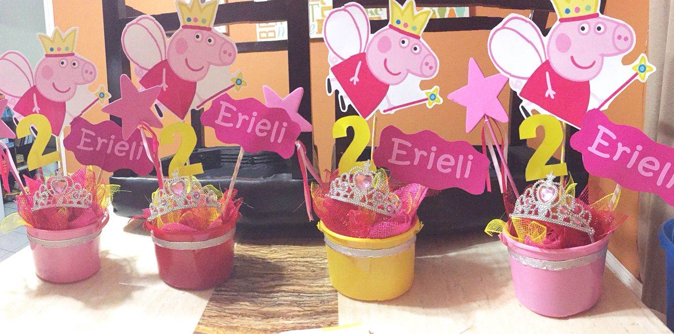 Diy Peppa Pig Centerpieces Less Than 10 Peppa Pig Party Peppa