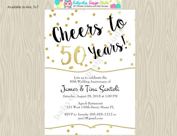 50th Wedding Anniversary Invitation Ideas: 50th Wedding Anniversary Invitation Invite Cheers To 50