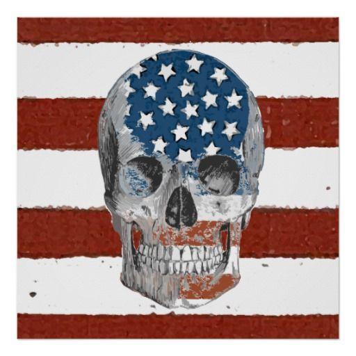 Vintage American Flag Skull Poster | Zazzle.com #americanflagart Vintage American Flag Skull Poster #gothic #skull #goth #american #americanflagart