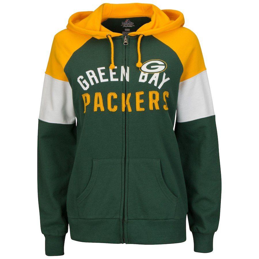 Majestic Green Bay Packers Women S Green Hot Route Full Zip Hoodie Green Bay Packers Packers Womens Packers Hoodie