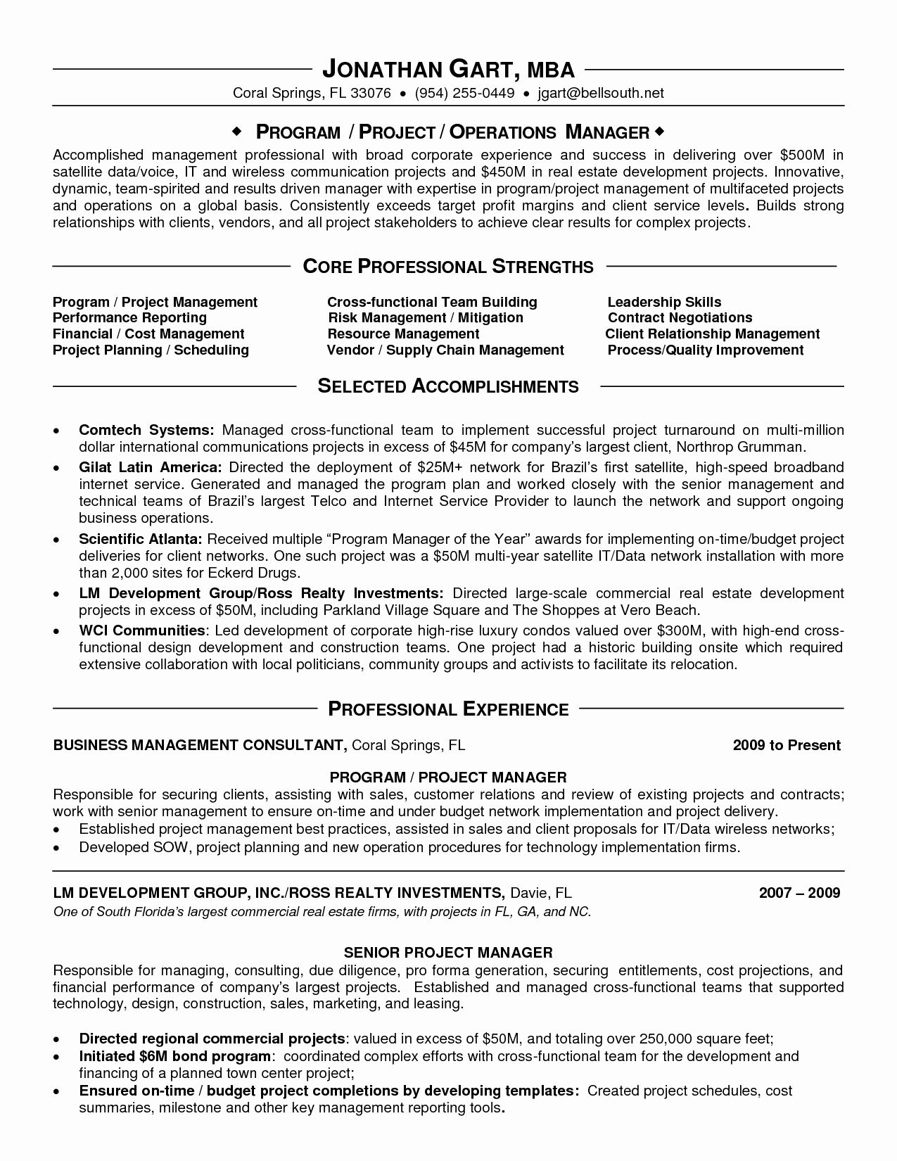 It program manager resume lovely program manager resume