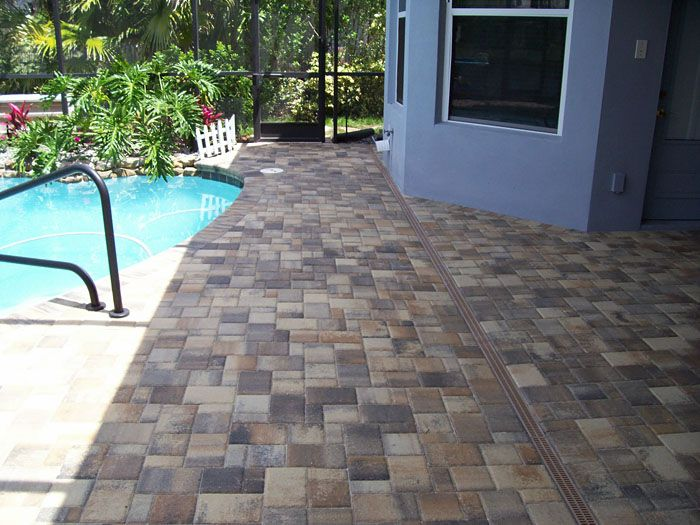 Stunning Swimming Pool Deck Drain with Brick Patio Paver ...