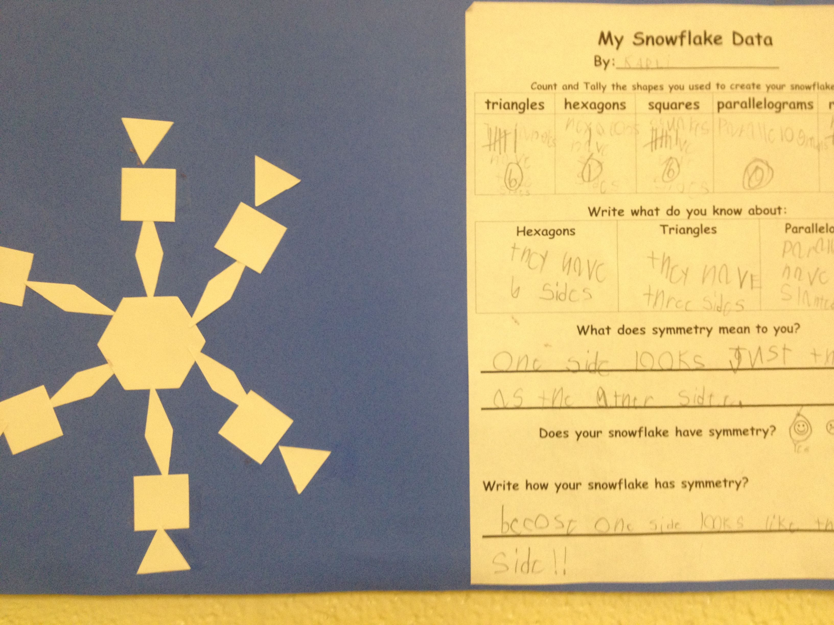 Symmetry Snowflakes Using Pattern Blocks Created In The