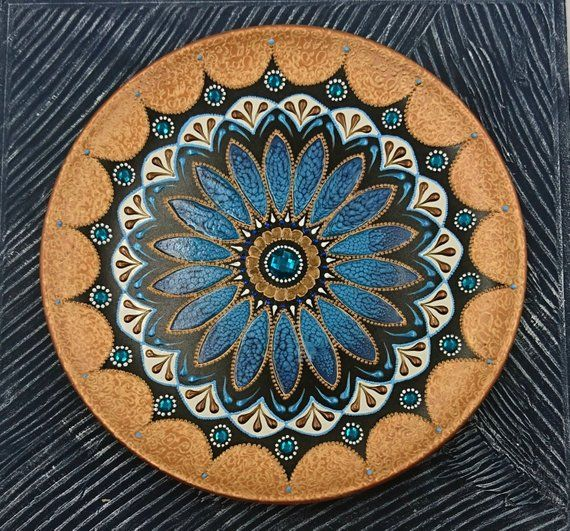 Turquoise violet ceramic wall decor plate Bronze ...