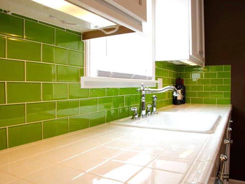 lush lemongrass 3x6 green glass subway tile kitchen backsplash and
