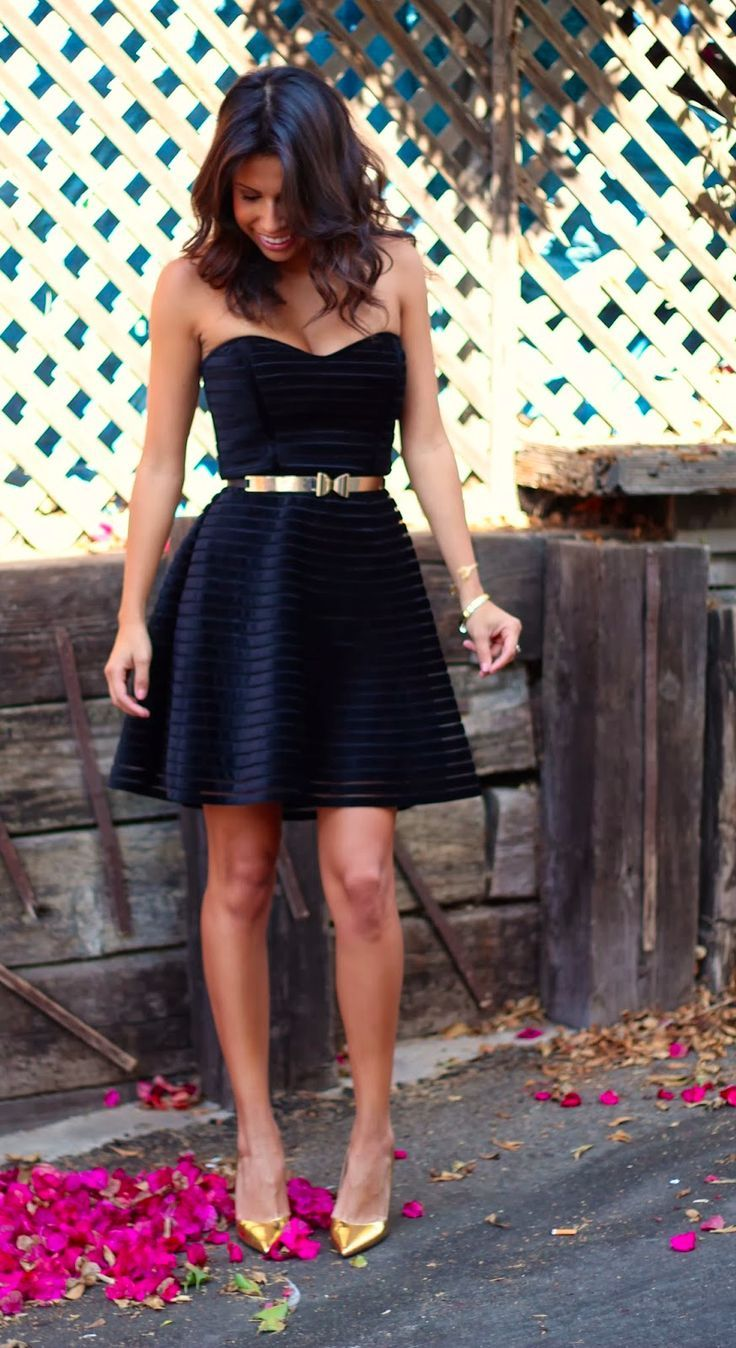 Black dress gold belt - Strapless Black Dress With Metallic Gold Belt And Shoes So Cute For Bridesmaids