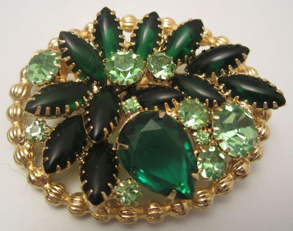 "RARE Vtg 2 1 2"" Signed Edlee Gold Tone Emerald Green Rhinestone Brooch Pin A24 | eBay"