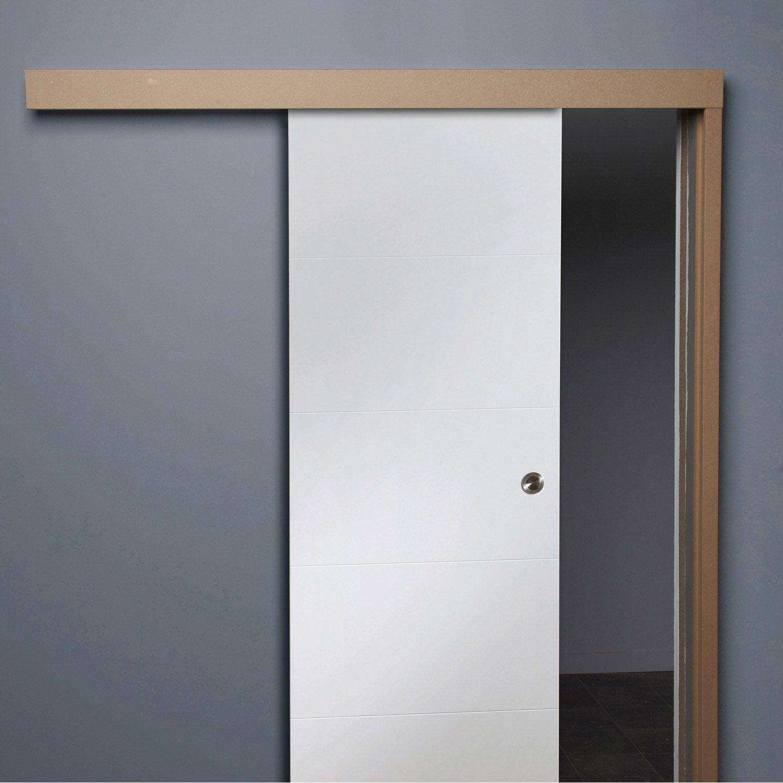 Mod le de syst me coulissant en applique devant le mur for Systeme pour porte coulissante castorama