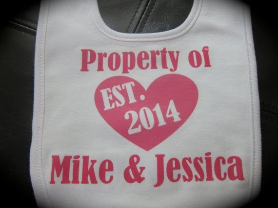Personalized Property of Parents Names Est.Year Bib for baby boy or baby girl gift novelty #bibsforbaby