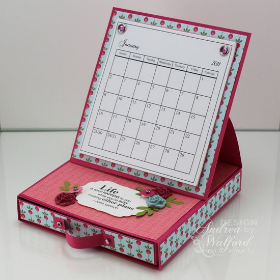 New Desktop Calendar Easel Tutorial Easter Blossoms Class Now Available And A Blog Give Away Andrea Walford Mini Calendars Easel Cards Cards Handmade